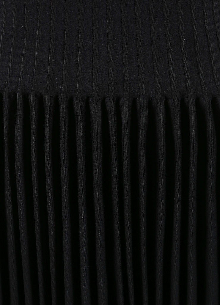 Alaia New With Tags Black Wool Knit Long Sleeve Pleated A-Line Sweater Dress Detail