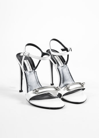 "White and Silver Toned Balenciaga Leather Open Toe ""Jacquelyn"" Sandals Frontview"