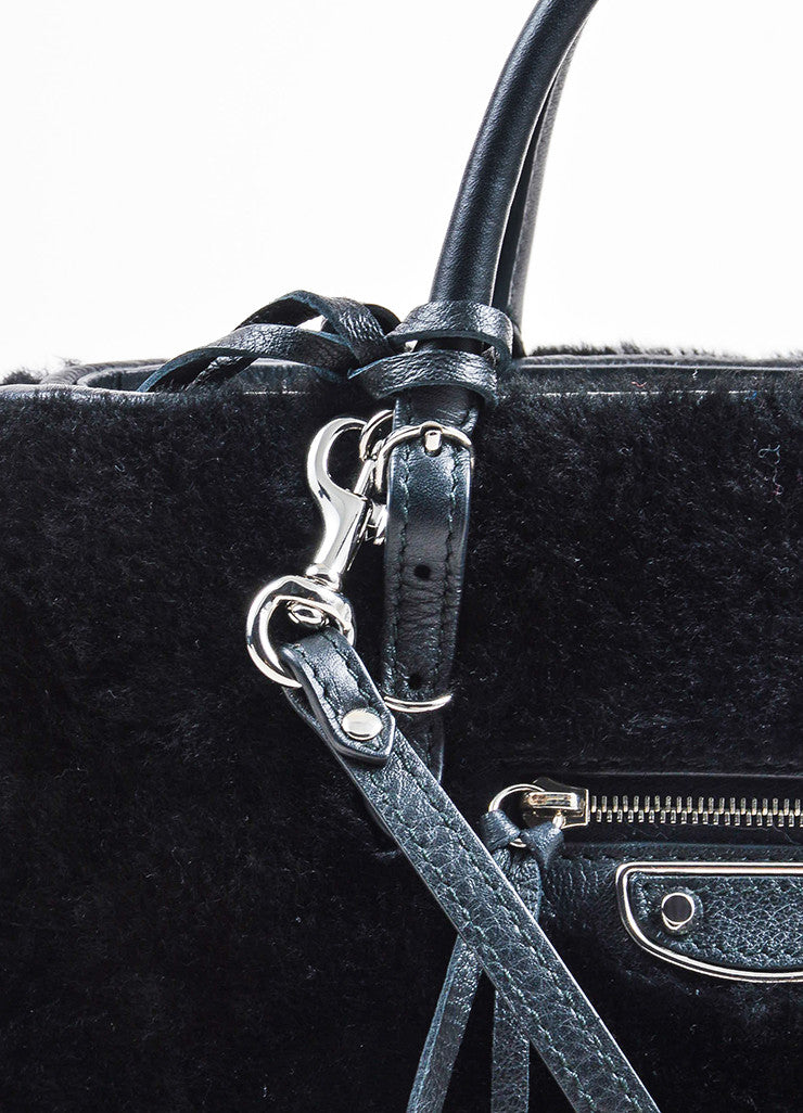 "Balenciaga Black Leather Faux Fur ""Shearling Mini Papier"" Tote Bag Detail 2"