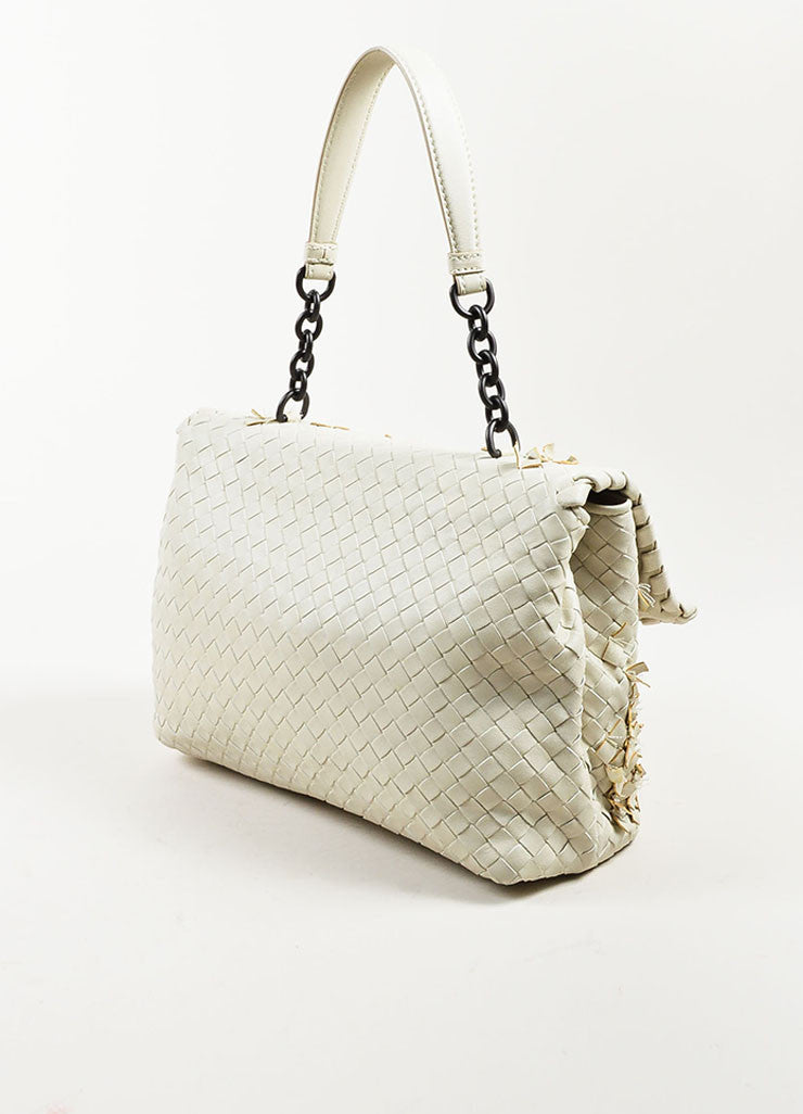 "Bottega Veneta White Woven Leather Fringed ""Olimpia Tobu"" Shoulder Bag Sideview"
