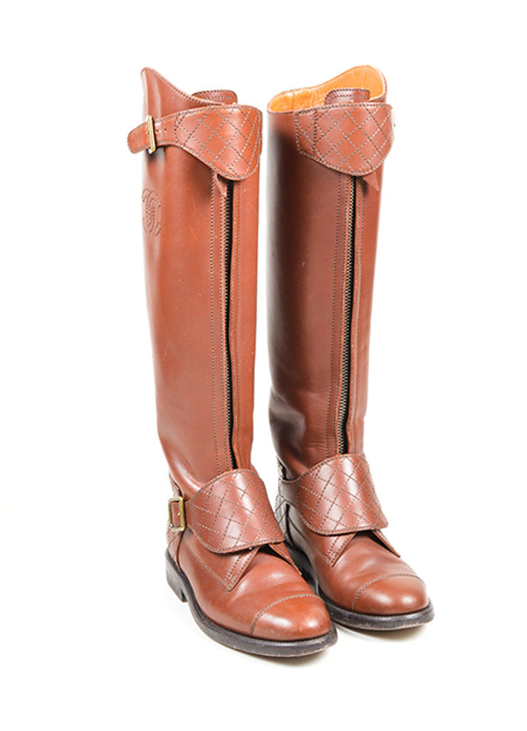 Brown Chanel Leather Stitched 'CC' Logo Riding Boots Frontview