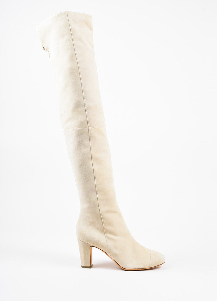 Beige Chanel Suede 'CC' Embroidered Over The Knee Boots