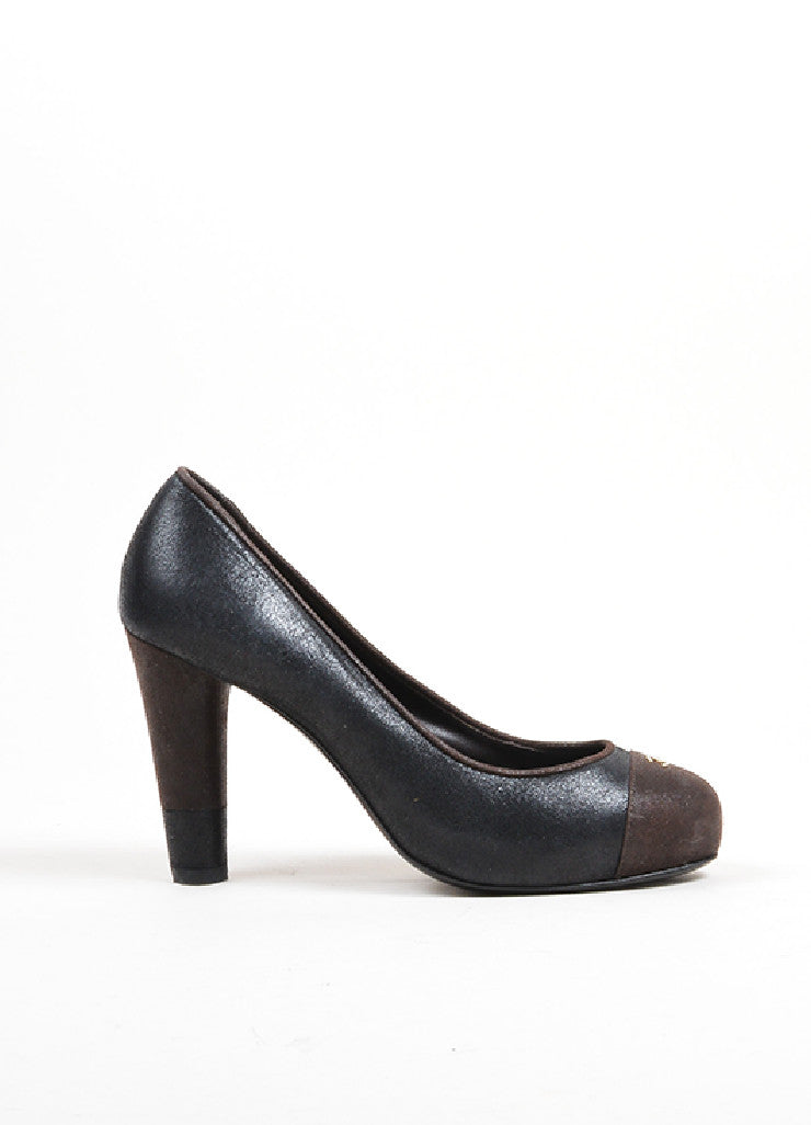 Black and Brown Chanel Crackled Leather Cap Toe Pumps Side