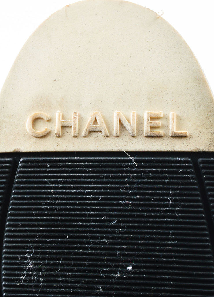 Chanel Black Leather Patent Cap Toe Heeled Over The Knee Boots Brand
