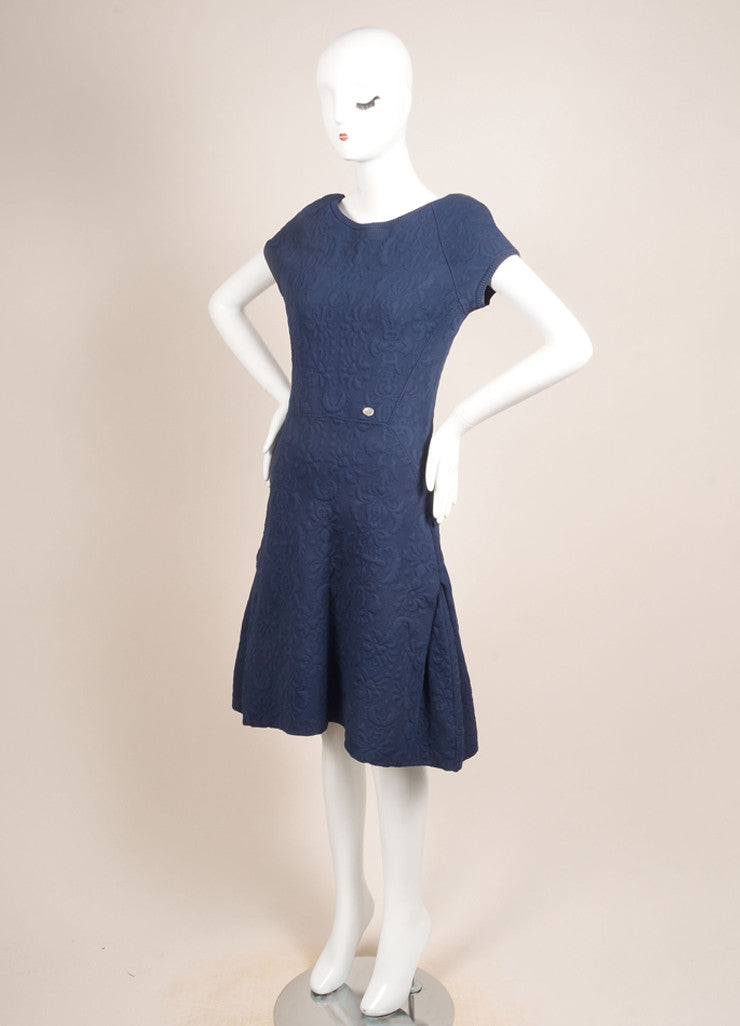 Chanel Blue Brocade Cap Sleeve Stretch Dress Sideview