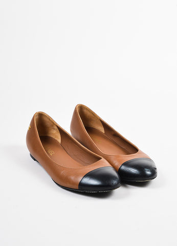 Chanel Brown and Black Leather Color Block Almond Cap Toe Ballerina Flats Frontview