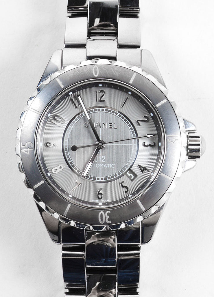 Chanel Gunmetal Grey Ceramic and Titanium J12 Automatic Chromatic Watch Detail