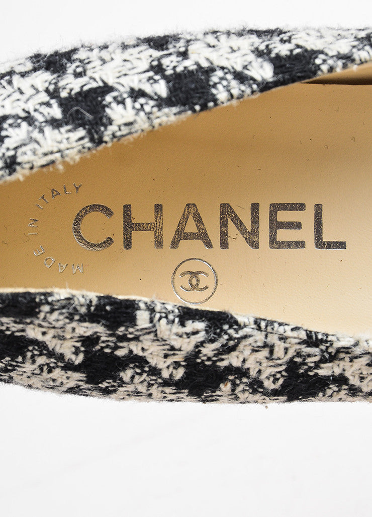Chanel Black White Tweed Leather Cap Houndstooth Ballerina Flats Brand