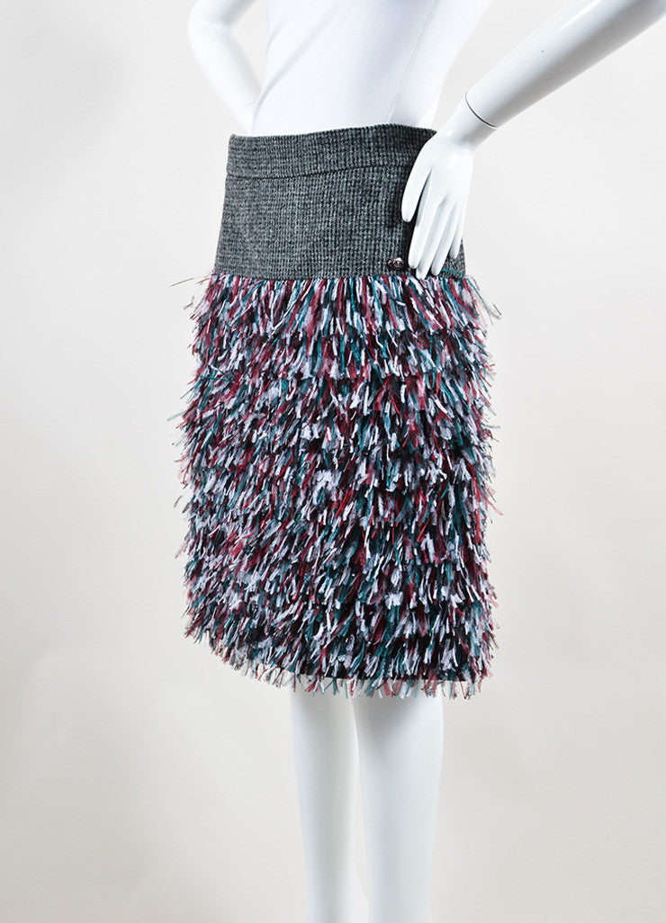 Chanel Grey, Green, and Red Wool Ostrich Feathers Skirt Sideview