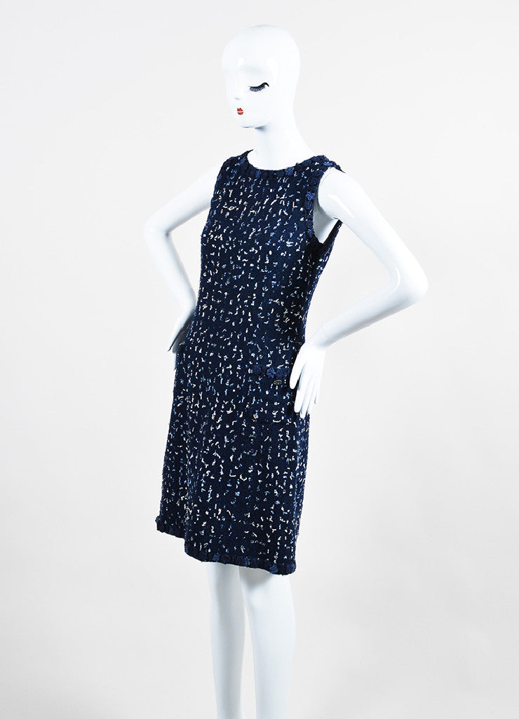 Navy Blue Chanel Tweed Confetti Embellished Sleeveless Shift Dress Sideview