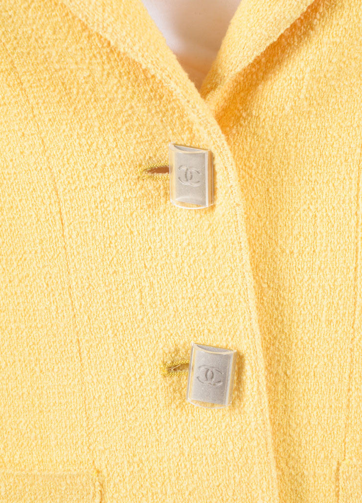 Chanel Yellow Wool Knit Jacket and Skirt Suit Detail