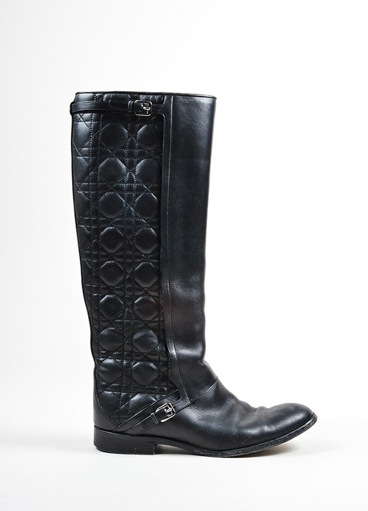 "Black Christian Dior Cannage Quilted Knee High ""City"" Flat Boots Sideview"