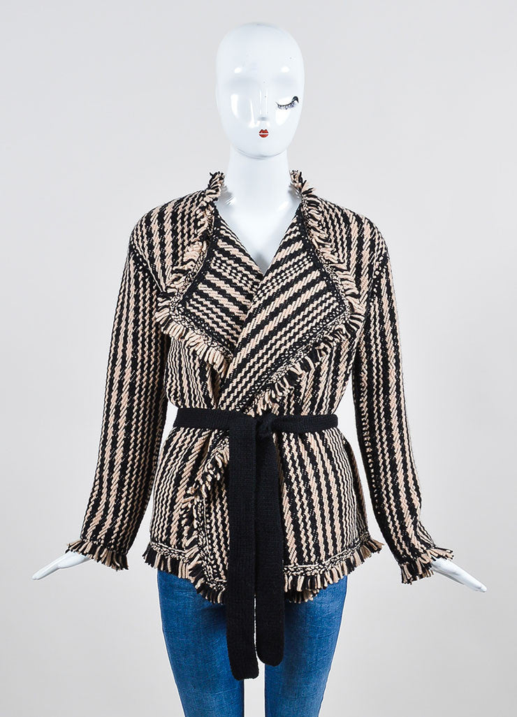 Black and Beige Christian Dior Knit Fringe Tie Long Sleeve Cardigan Sweater Frontview
