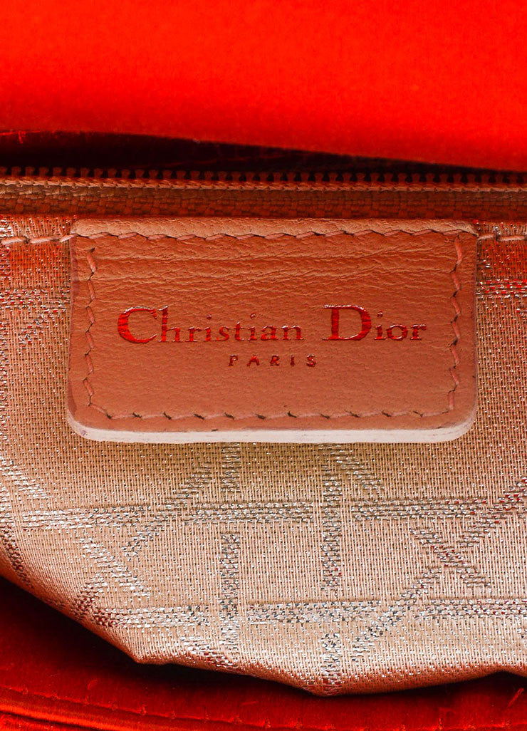 "Christian Dior Red Satin Quilted Acrylic Handle Rhinestone ""Mini Lady Dior"" Bag Brand"