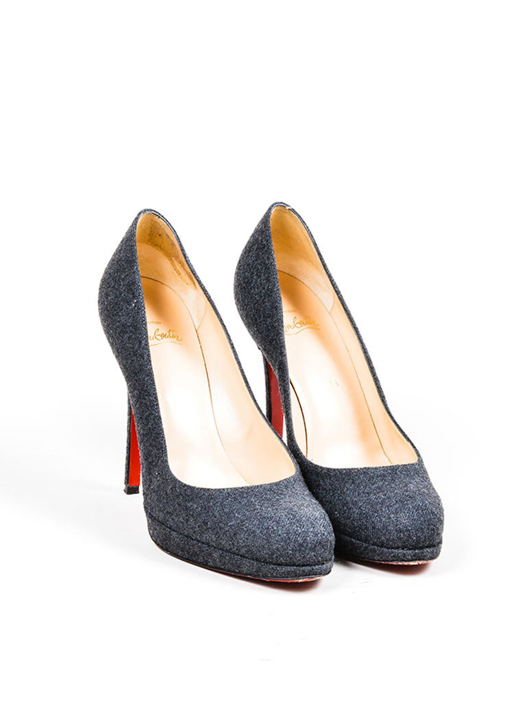 Charcoal Grey Christian Louboutin Wool New Simple 120 Platform Pumps Frontview