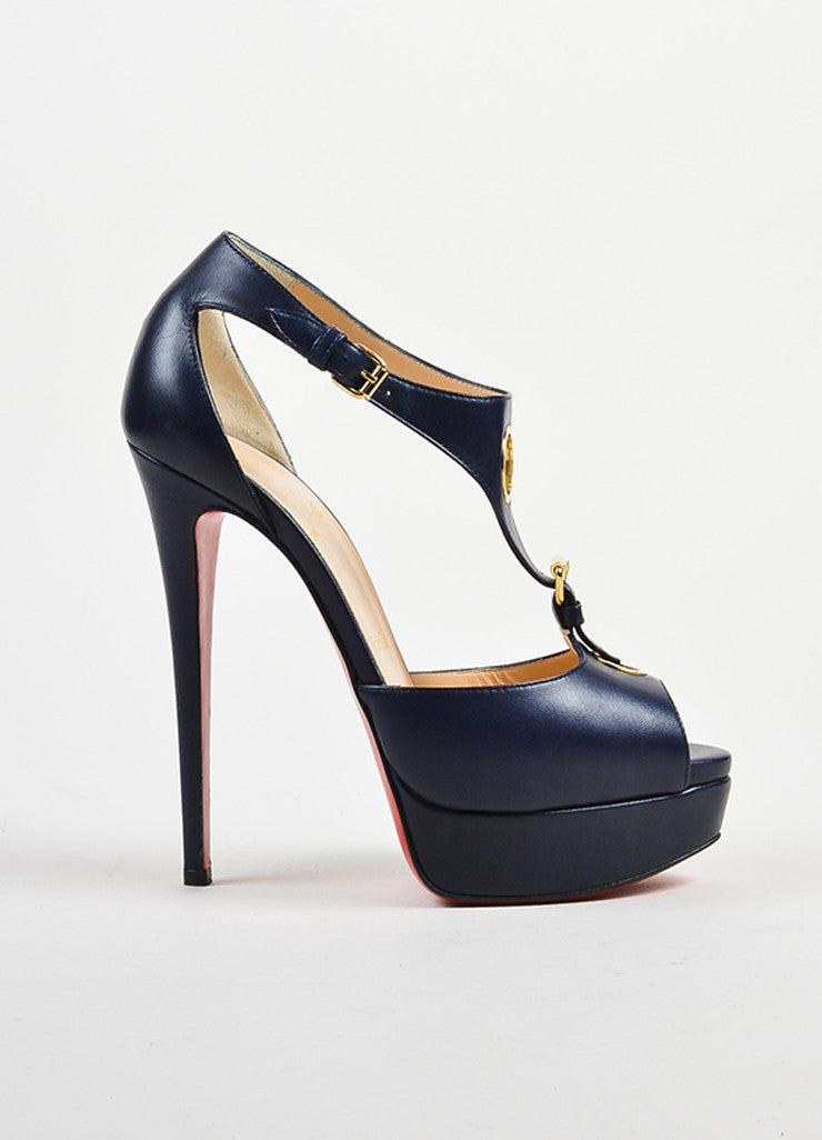 Navy Blue Christian Louboutin Leather Ublot 150 Sandals Side