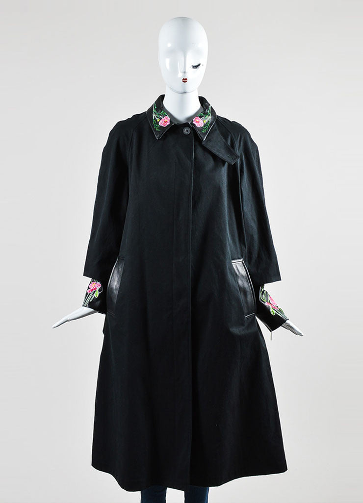 Christopher Kane Black Leather Trim Floral Embroider Trench Coat Frontview 2