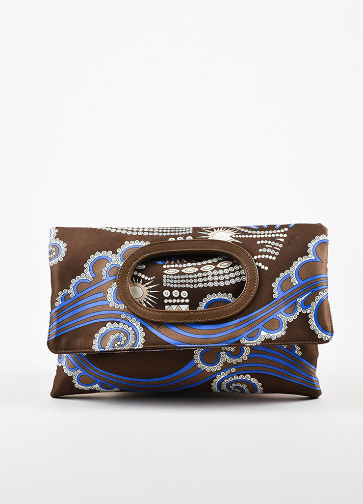 Emilio Pucci Brown Blue Abstract Printed Handbag Frontview