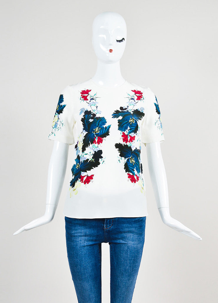 "White and Multicolor Erdem Silk Floral Print ""Armilla"" Short Sleeve Top Frontview"