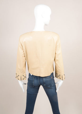 Giorgio Armani Cream and Gray 'X' Lace & Grommet Quarter Sleeve Leather Jacket Backview
