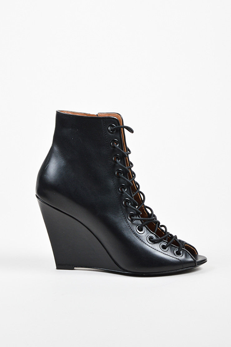 "Black Givenchy Leather Lace Up ""Bondage"" Wedge Heels Sideview"