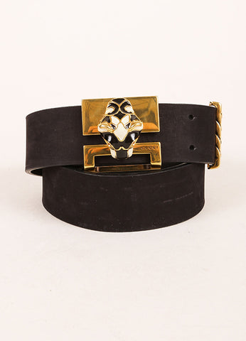 Gucci Black and Gold Toned Enamel Panther Head Leather Belt Frontview