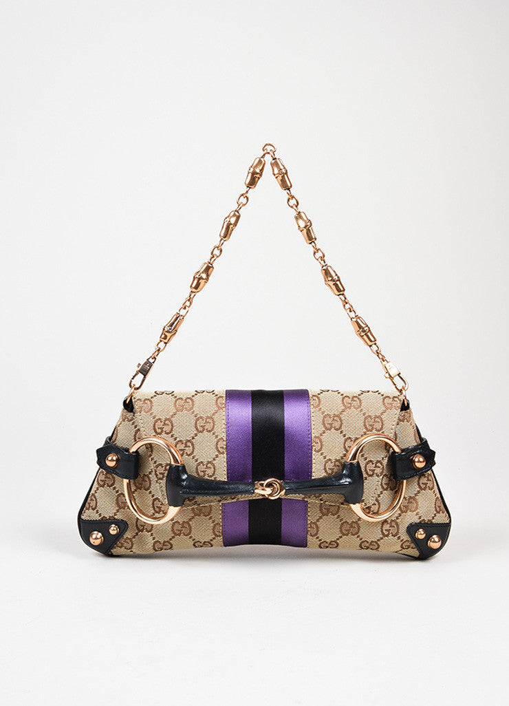 Brown, Black, and Purple Gucci Monogram Canvas Leather Horsebit Chain Strap Clutch Bag Frontview