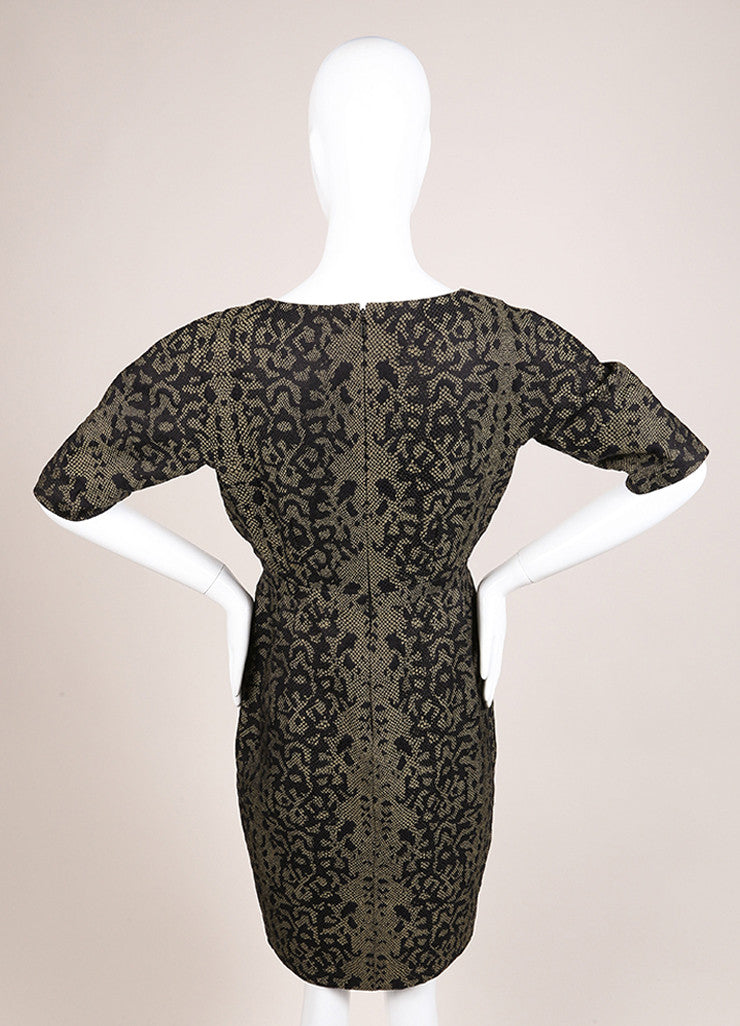 Gucci Green and Black Reptile Print Mid Sleeve V Neck Sheath Dress Backview