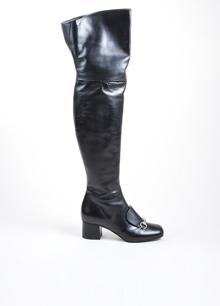"Black Gucci Leather ""Charlotte 55mm"" Knee High Boots Side"