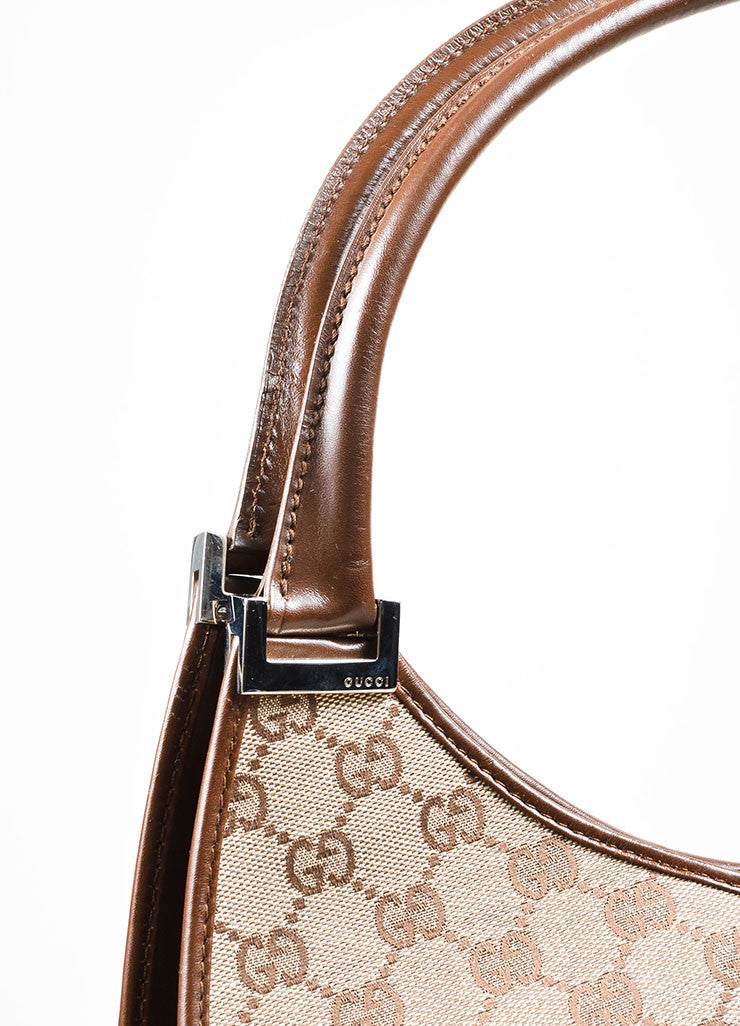 "Tan and Brown Gucci Monogram Canvas and Leather ""Bardot"" Zip Extra Large Shoulder Bag Detail 2"