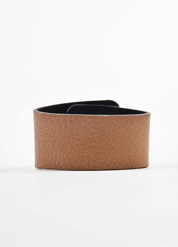 Gucci Tan and Gold Toned Leather 'GG' Logo Turn Lock Wide Cuff Bracelet Backview