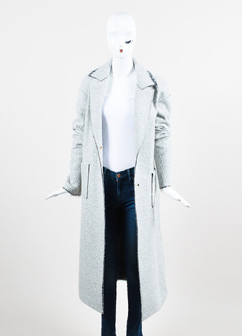 "Hellessy Grey Boucle ""Spiro"" Long Coat Frontview"