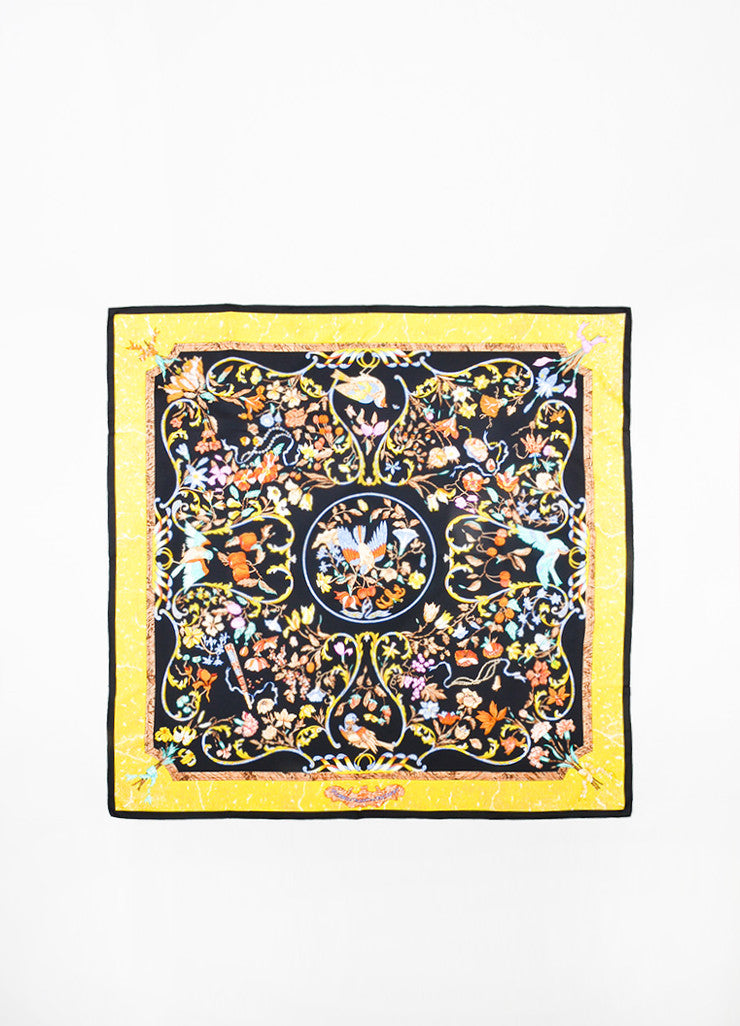 "Hermes Black and Yellow Silk ""Pierres d'Orient et d'occident"" Scarf Frontview 2"