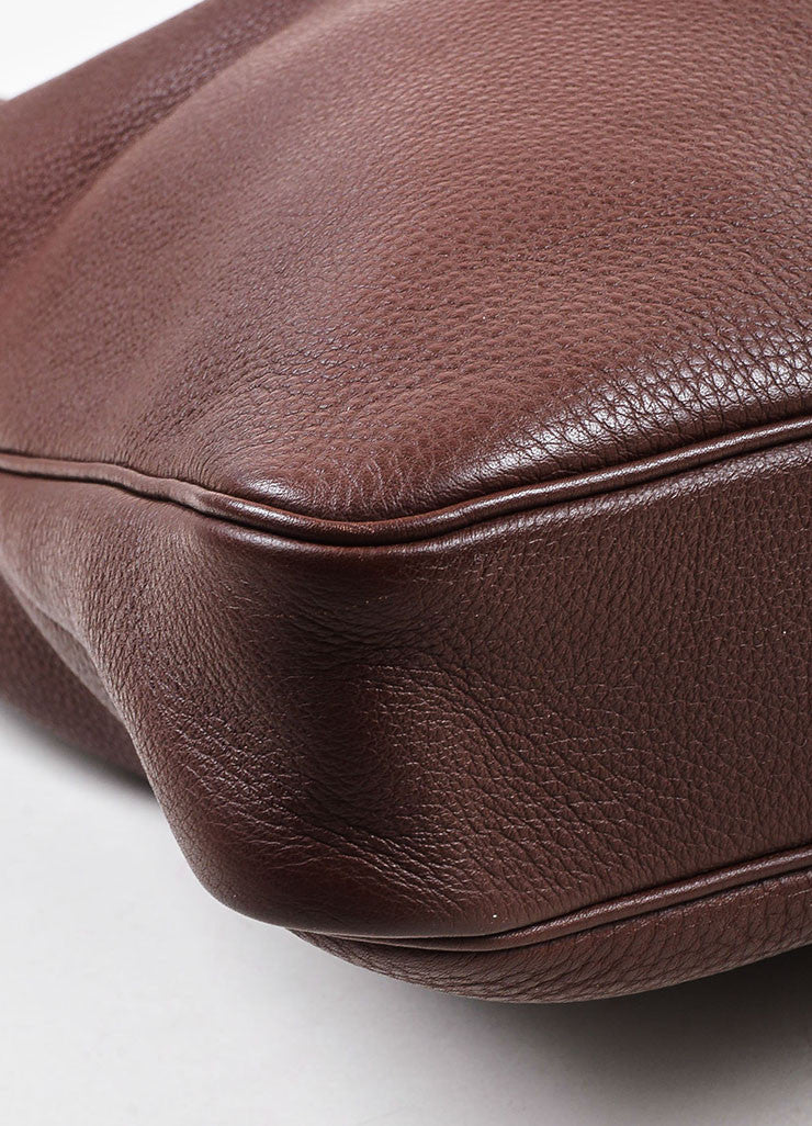"Hermes Burgundy Clemence Leather ""Massai GM"" Dual Zip Square Shoulder Bag Detail"