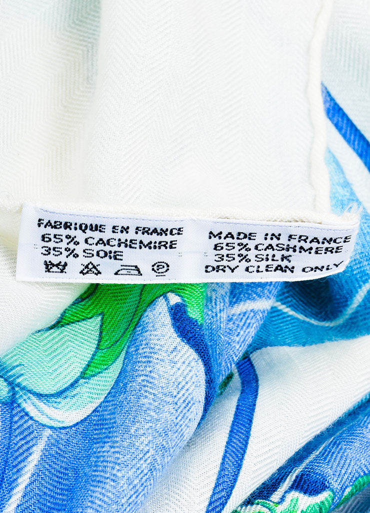 "Hermes ""Les Capucines"" Blue and Cream Cashmere and Silk Scarf Brand"
