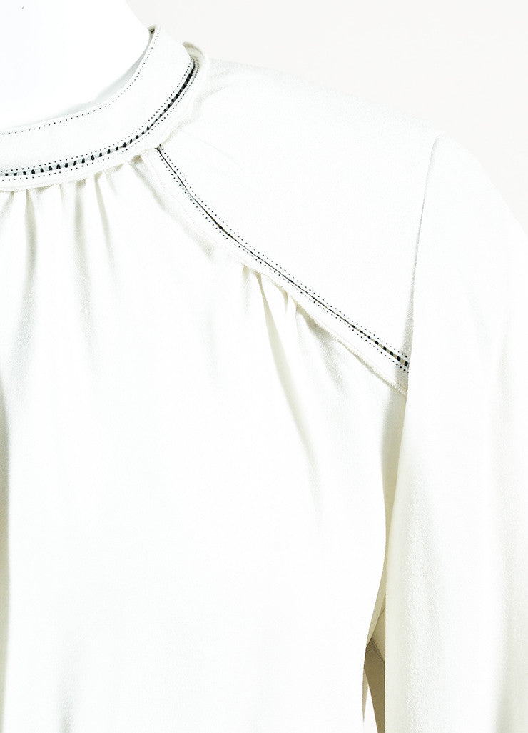 Isabel Marant Off White and Black Crepe Cut Out Trim Long Sleeve Blouse Top Detail