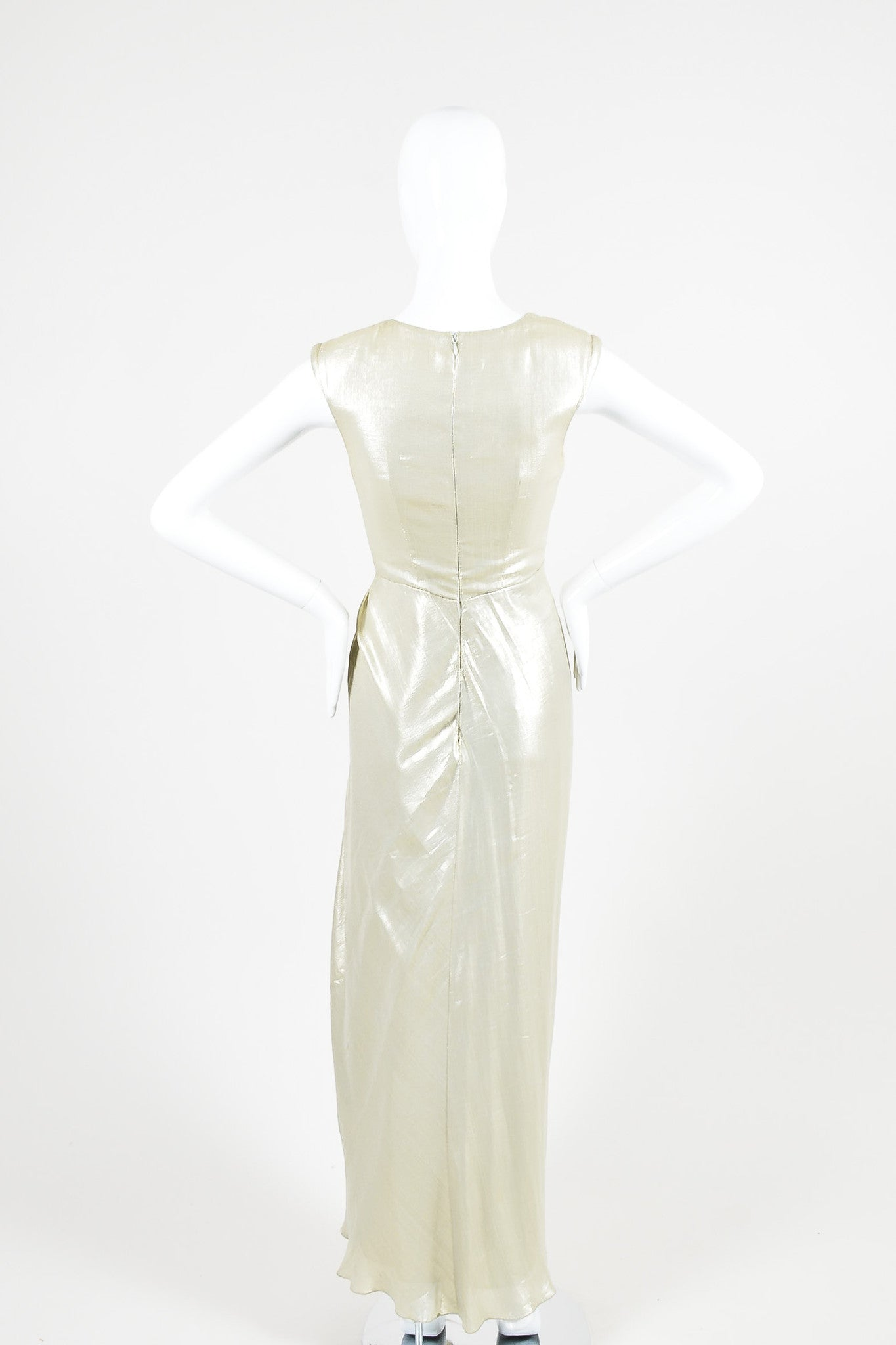 Light Gold Metallic J. Mendel Pleated Beaded Full Length Sleeveless Gown Backview