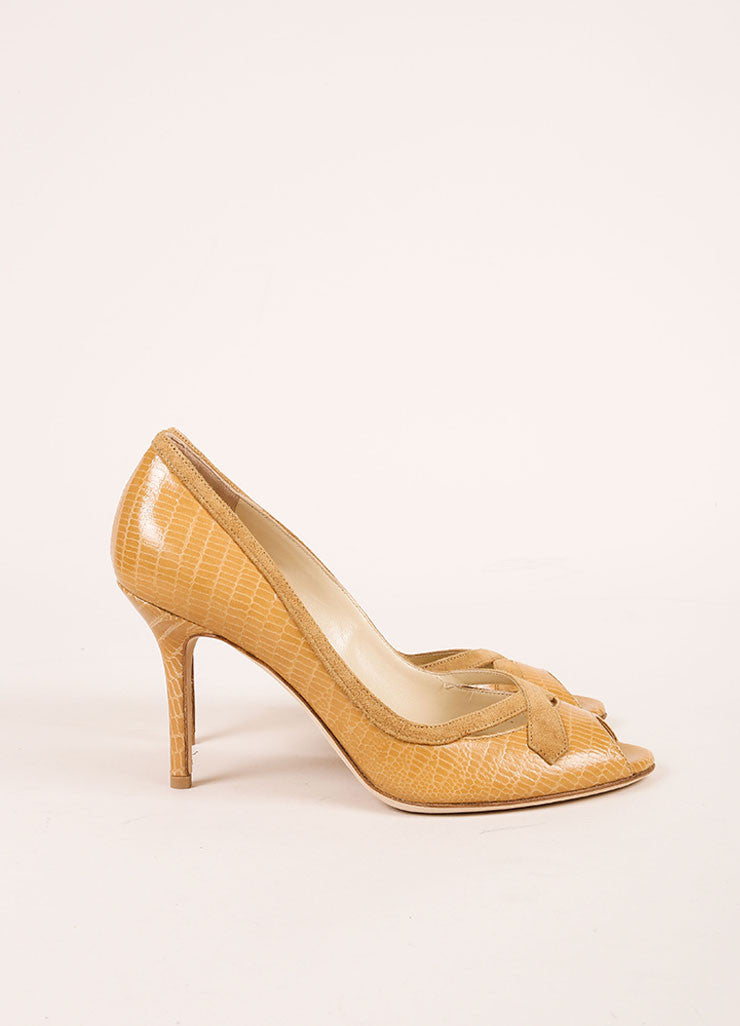 Jimmy Choo New In Box Tan Lizard Embossed Leather Peep Toe Pumps Sideview