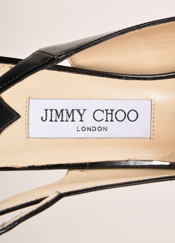 "Jimmy Choo New In Box Black Patent Leather ""Nova"" Platform Slingback Pumps Brand"