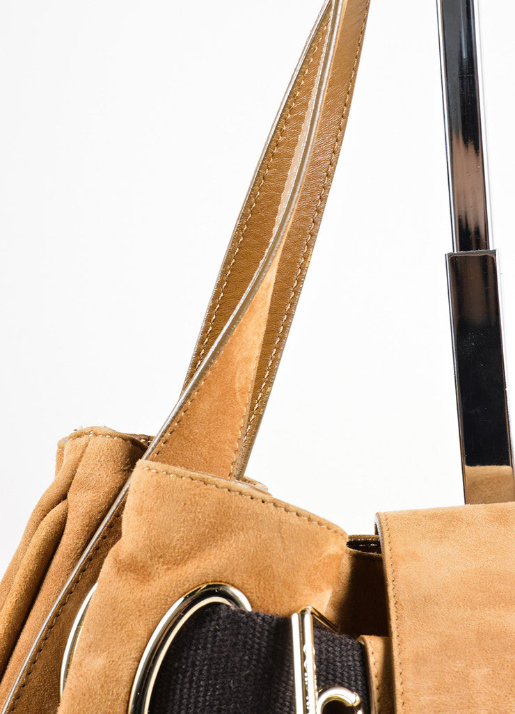 Jimmy Choo Brown Suede and Canvas Woven Strap Tote Bag Detail 2