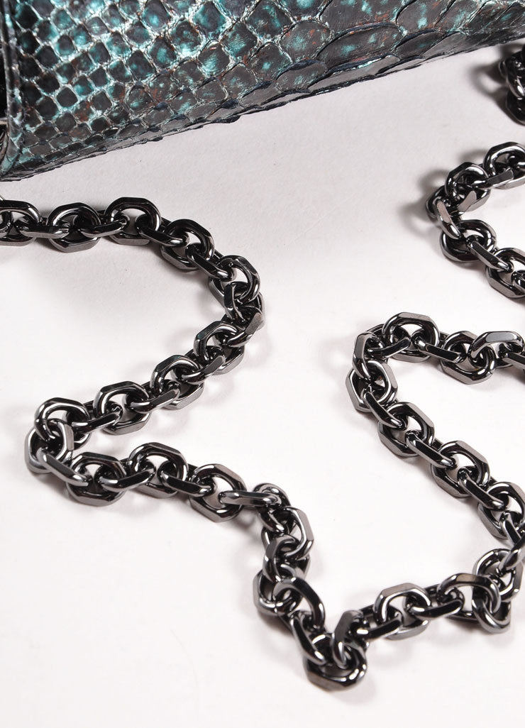 Judith Leiber Black and Teal Snakeskin Chain Strap Clutch Bag Detail 3