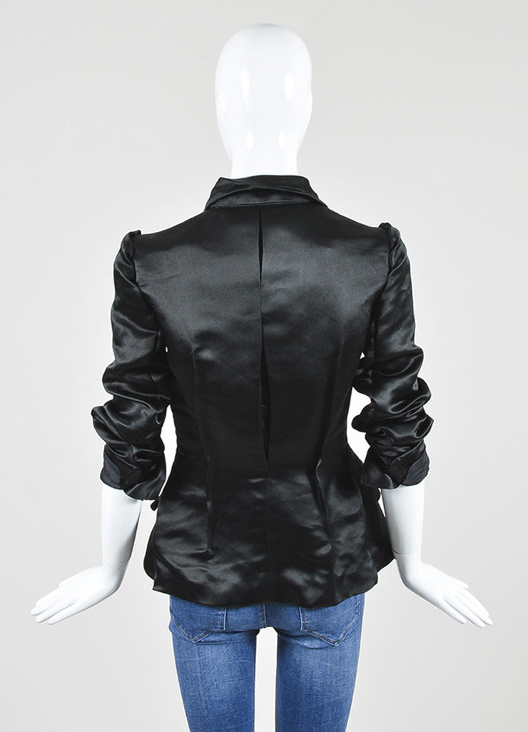 Black Lanvin Woven Silk Structured Seamed Jacket Backview