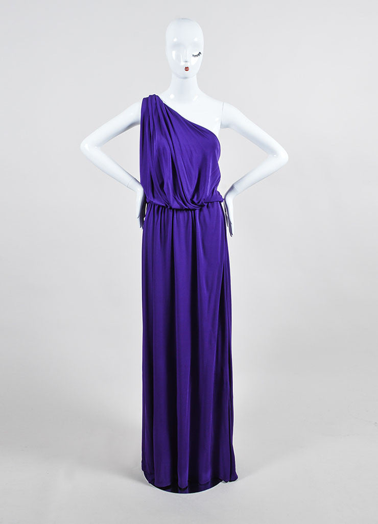 Purple Lanvin Stretch Knit Twisted One Shoulder Maxi Dress Frontview