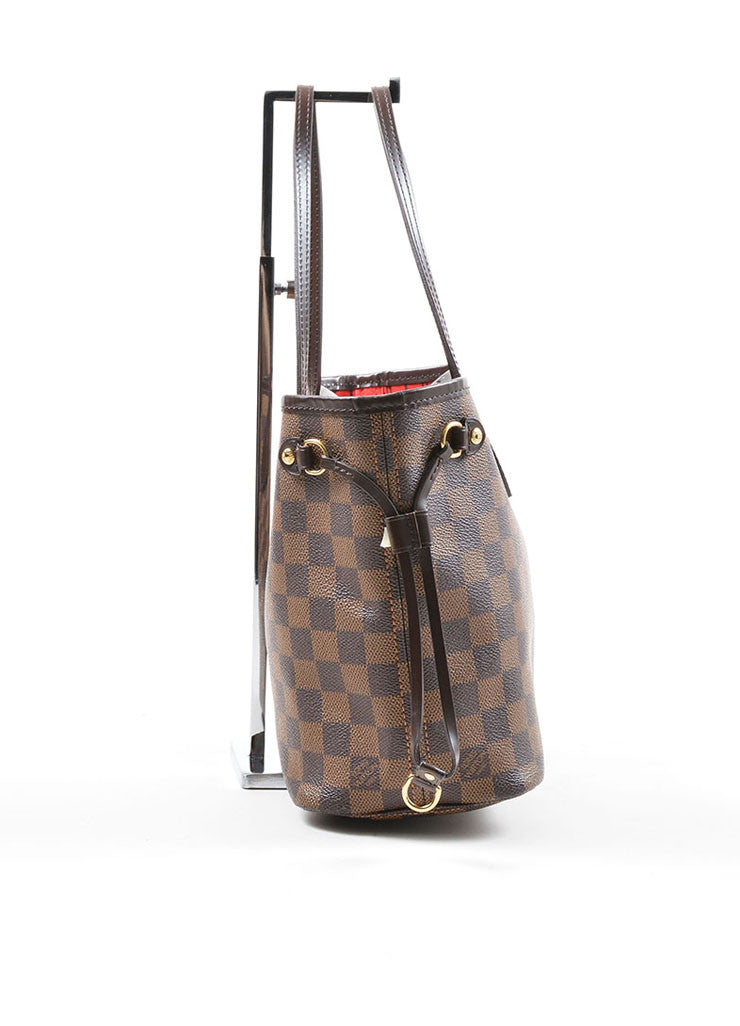 "Louis Vuitton Ebene Brown Damier Checkered ""Neverfull PM"" Tote Bag Sideview"