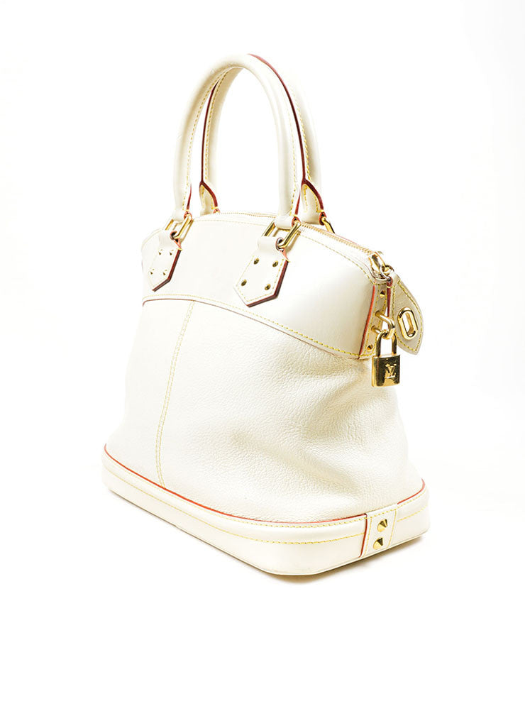 "Cream and Gold Toned Louis Vuitton Suhali Leather Studded ""Lockit PM"" Tote Bag Sideview"