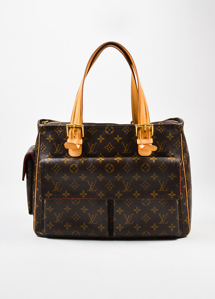 "Louis Vuitton Brown Monogram Canvas ""Multiplicite GM"" Satchel Tote Bag Frontview"