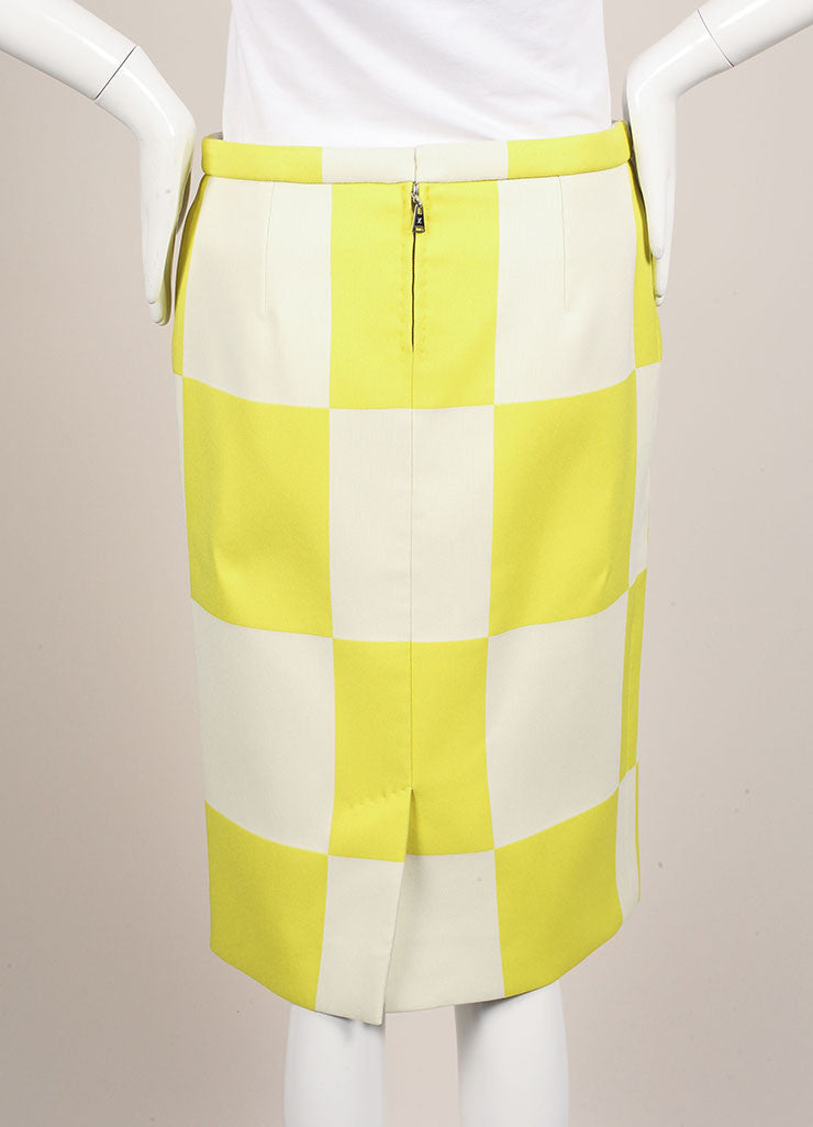 Louis Vuitton Neon Yellow and White Checkerboard Pencil Skirt Backview