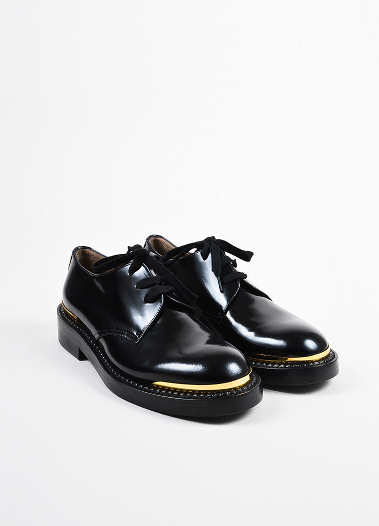 Marni Black Glossy Leather Gold Tip Lace Up Oxford Loafers frontview