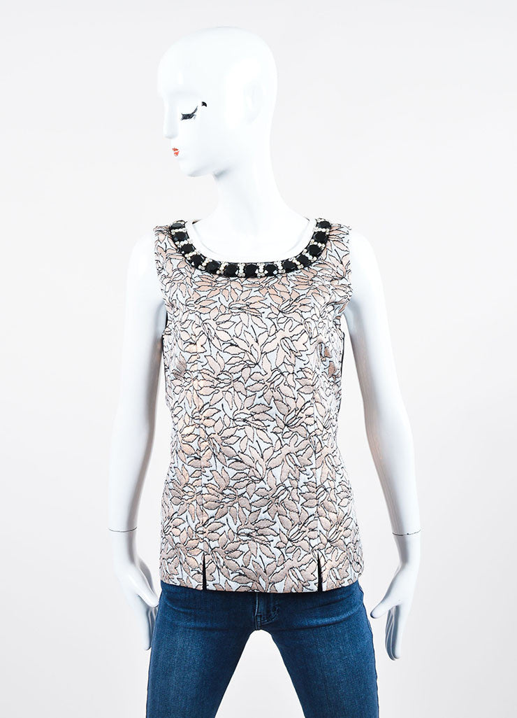 White, Pink, and Black Marni Floral Brocade Knit Rhinestone Sleeveless Shell Top Frontview