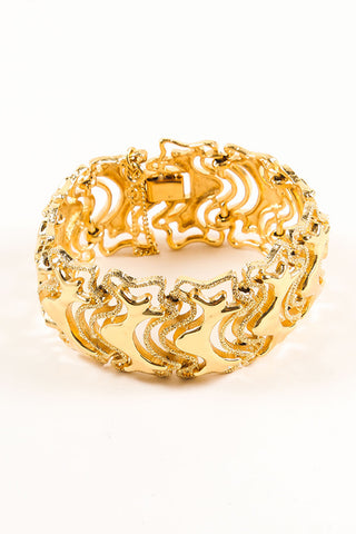 Monet Gold Toned Abstract Textured Chain Link Bracelet Sideview